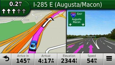 Funkcija GPS Auto navigacija za izbor trake - Garmin Nuvi