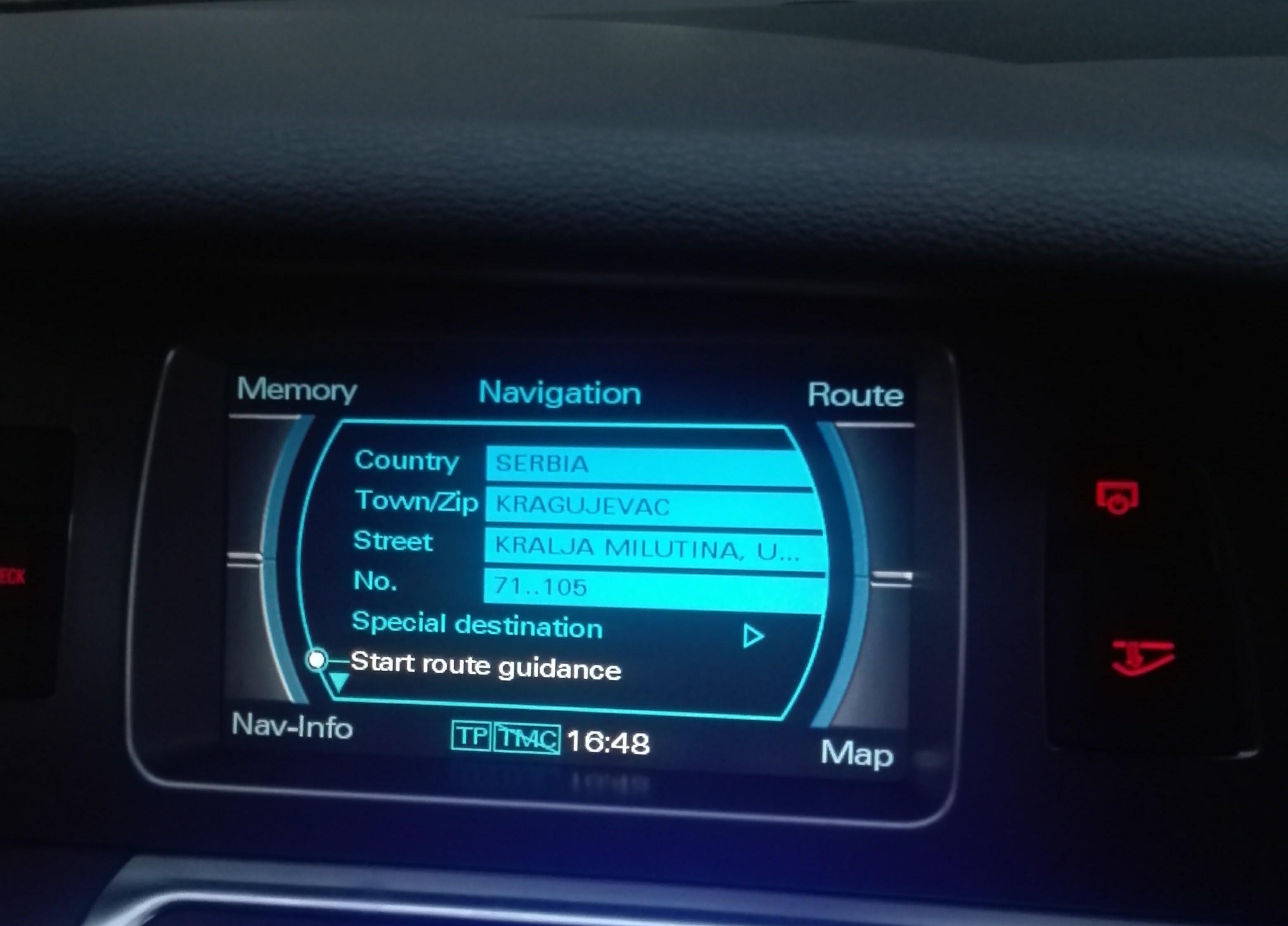 Audi fabričke navigacije MMI 2G u Kragujevcu