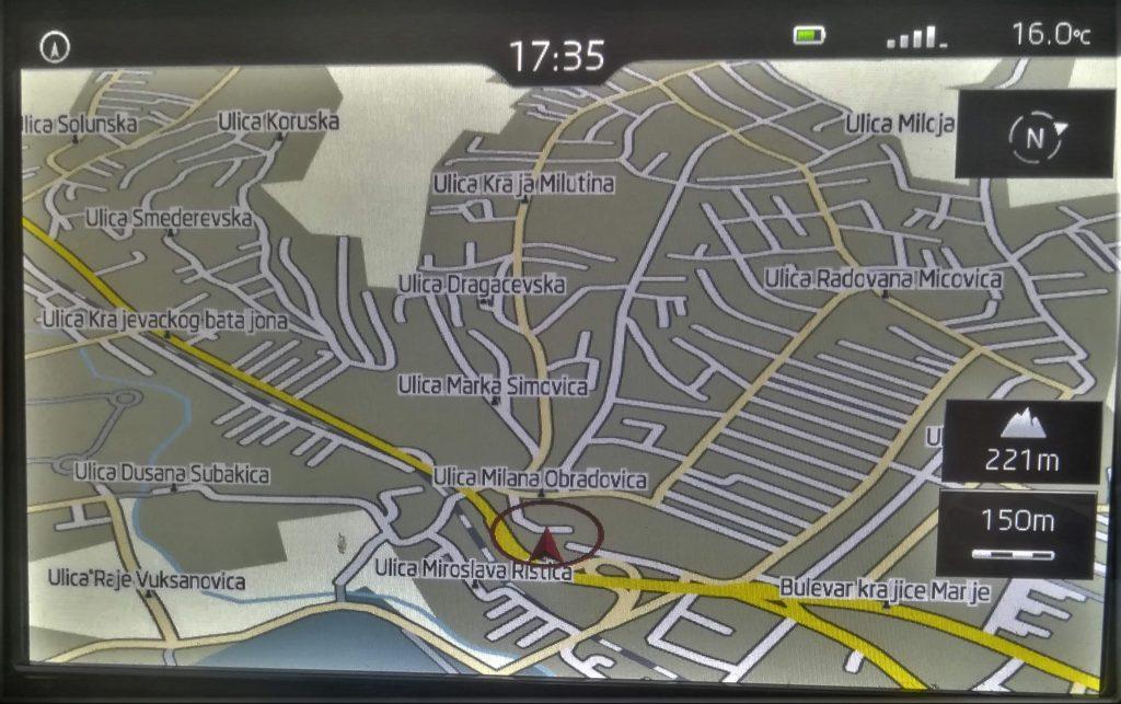 Škoda Amundsen II navigaciona mapa Kragujevca